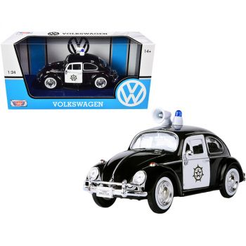 1966 Volkswagen Beetle Police Car Black and White 1/24 Diecast Model Car by Motormax 79578