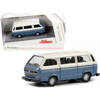 Volkswagen T3b Bus L Blue and Cream 1/87 (HO) Diecast Model by Schuco 452650900