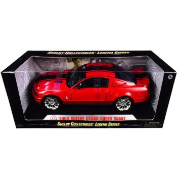 2008 Ford Shelby Mustang GT500 Super Snake Red with Black Stripes Shelby Collectibles Legend Series 1/18 Diecast Model Car by Shelby Collectibles SC313