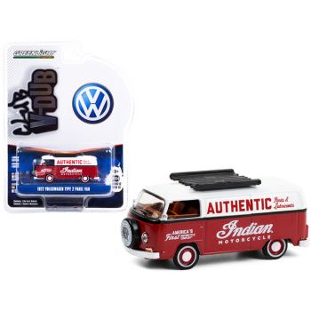 1972 Volkswagen Type 2 Panel Van Indian Motorcycle Authentic Parts & Lubricants Burgundy and White Club Vee V-Dub Series 12 1/64 Diecast Model by Greenlight 36020B