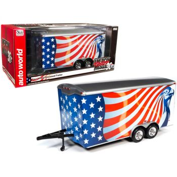 Four Wheel Enclosed Car Trailer with American Flag Graphics American Muscle 30th Anniversary for 1/18 Scale Model Cars by Autoworld AMM1266
