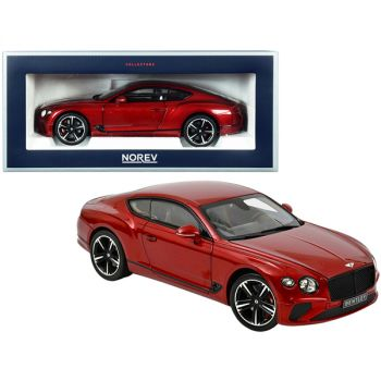 2018 Bentley Continental GT Candy Red Metallic 1/18 Diecast Model Car by Norev 182788