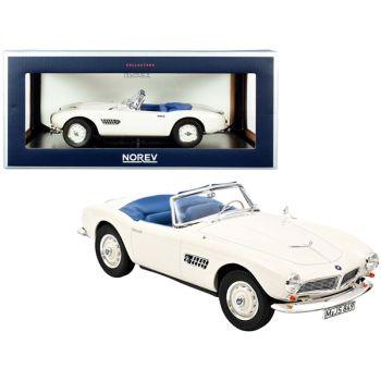 1956 BMW 507 Convertible White with Blue Interior 1/18 Diecast Model Car by Norev 183232