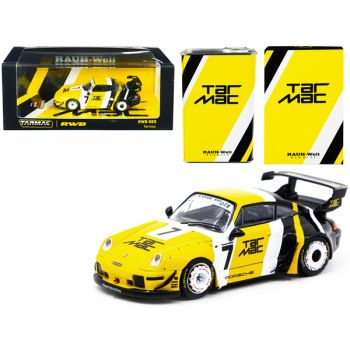 Porsche RWB 993 #7 Tarmac Yellow and Black with METAL OIL CAN RAUH-Welt BEGRIFF 1/64 Diecast Model Car by Tarmac Works T64-017-TM
