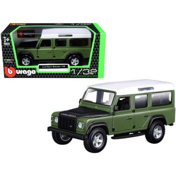 Land Rover Defender 110 Green with Black Hood and White Top 1/32 Diecast Model Car by Bburago 43029grn