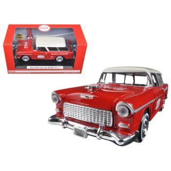 1955 Chevrolet Nomad Coca Cola with 2 bottle cases and metal handcart 1/24 Diecast Model Car  by Motorcity Classics 424110