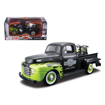 1948 Ford F-1 Pickup Truck Harley Davidson with 1948 Harley Davidson FL Panhead Motorcycle Black and Green 1/24 Diecast Models by Maisto 32171bk-grn