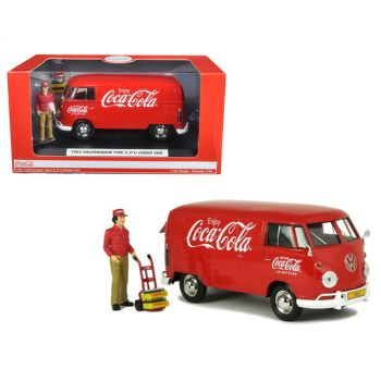 1963 Volkswagen Type 2 (T1) Coca-Cola Cargo Van with Delivery Driver Figurine with Handcart and Two Bottle Cases 1/24 Diecast Model Car by Motorcity Classics 424062