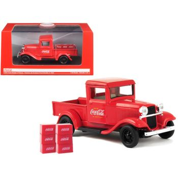 1934 Ford Model A Pickup Truck Red with 6 Bottle Cartons Coca-Cola 1/43 Diecast Model Car by Motorcity Classics 443743