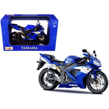 2004 Yamaha YZF-R1 Blue Bike with Plastic Display Stand 1/12 Diecast Motorcycle Model by Maisto 31102-32712
