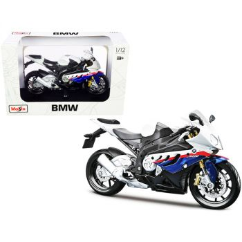 BMW S 1000 RR White with Blue and Red Stripes with Plastic Display Stand 1/12 Diecast Motorcycle Model by Maisto 31191-32702