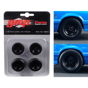 Wheels and Tires Set of 4 from 1993 Ford Mustang Cobra 1320 Drag Kings King Snake 1/18 by GMP 18894