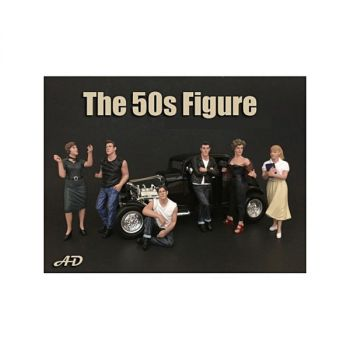 50\'s Style 6 piece Figurine Set for 1/18 Scale Models by American Diorama 38151-38152-38153-38154-38155-38158