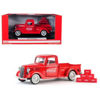 1937 Ford Pickup Truck Coca-Cola Red with 6 Bottle Carton Accessories 1/24 Diecast Model Car by Motorcity Classics 424065