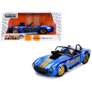 1965 Shelby Cobra 427 S/C Candy Blue with Gold Stripes Snake Bite Bigtime Muscle Series 1/24 Diecast Model Car by Jada 30706