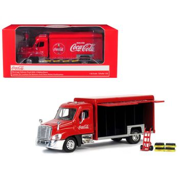 Beverage Delivery Truck Coca-Cola with Handcart and 4 Bottle Cases 1/50 Diecast Model by Motorcity Classics 450060