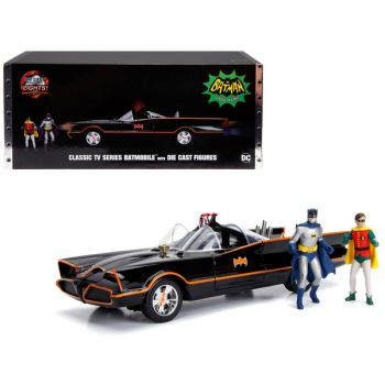 Classic TV Series Batmobile with Working Lights, and Diecast Batman and Robin Figures 80 Years of Batman 1/18 Diecast Model Car by Jada 98625