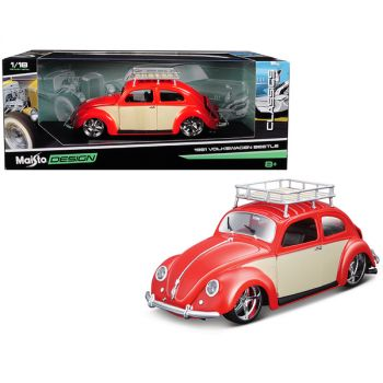 1951 Volkswagen Beetle with Roof Rack Orange Red Classic Muscle 1/18 Diecast Model Car by Maisto 32614r