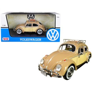 1966 Volkswagen Classic Beetle with Roof Luggage Rack Light Brown 1/24 Diecast Model Car by Motormax 79559ltbrn