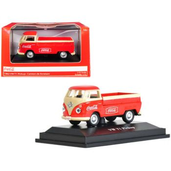 1962 Volkswagen T1 Pickup Truck Coca-Cola Red and Cream 1/72 Diecast Model Car by Motorcity Classics 472003