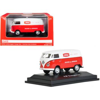 1962 Volkswagen Transporter Cargo Van Coca-Cola Red and White 1/72 Diecast Model by Motorcity Classics 472004