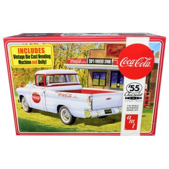 Skill 3 Model Kit 1955 Chevrolet Cameo Pickup Truck Coca-Cola with Vintage Vending Machine and Dolly 1/25 Scale Model by AMT AMT1094