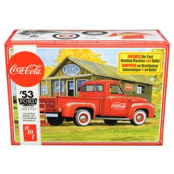 Skill 3 Model Kit 1953 Ford F-100 Pickup Truck Coca-Cola with Vending Machine and Dolly 1/25 Scale Model by AMT AMT1144M