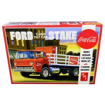 Skill 3 Model Kit Ford C600 Stake Bed Truck with Two Coca-Cola Vending Machines 1/25 Scale Model by AMT AMT1147