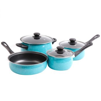 Gibson Home Casselman 7 piece Cookware Set in Turquoise