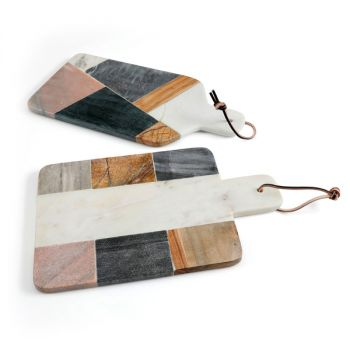 Gibson Elite Pinehurst 2 Piece Cutting Board Set in Marble and Wood