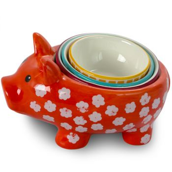 Urban Market Life on the Farm 4 Piece Durastone Figural Pig Measuring Cup Set in Assorted Colors