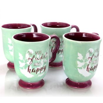 Urban Market Life on the Farm 4 Piece 18.75 Ounce Durastone Footed Cup Set in Teal and Purple