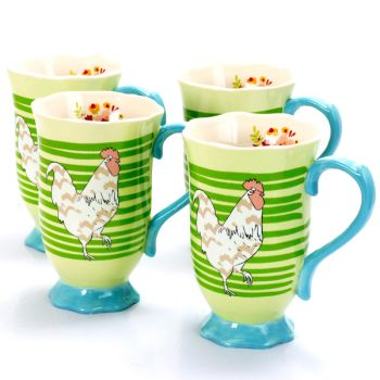 Urban Market Life on the Farm 4 Piece 14 Ounce Durastone Footed Rooster Tea Cup Set in Green Stripes