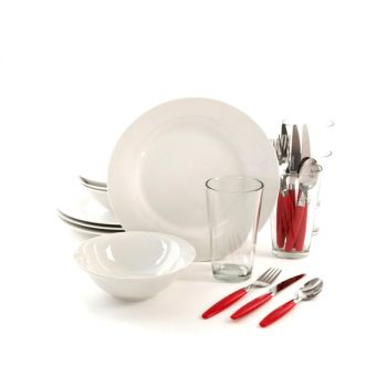 Gibson Home Delightful Dining 24 Piece Dinnerware Set in Red and White