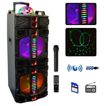 beFree Sound Dual 12 Inch Subwoofer Portable Bluetooth Party Speaker with LED Lights, USB/ SD Input, Rechargeable Battery, Remote Control and Wireless Microphone