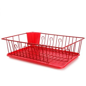 MegaChef 17.5 Inch Red Dish Rack with 14 Plate Positioners and a Detachable Utensil Holder
