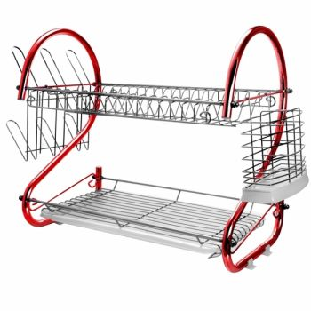 MegaChef 16 Inch Two Shelf Iron Wire Dish Rack in Red