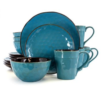 Elama Sea Glass 16 Piece Luxurious Stoneware Dinnerware with Complete Setting for 4