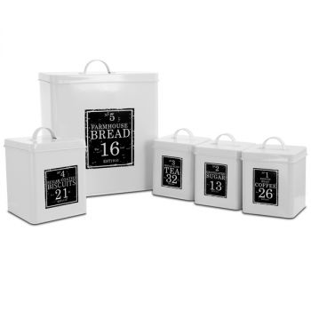 MegaChef Kitchen Food Storage and Organization 5 Piece Canister Set in White and Black