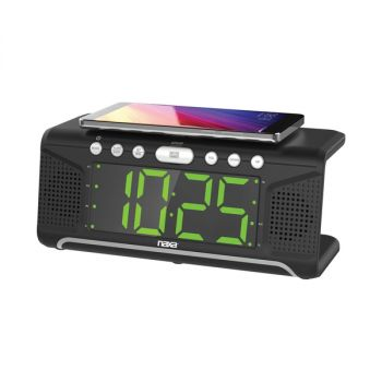 Dual Alarm Clock with Qi Wireless Charging Function