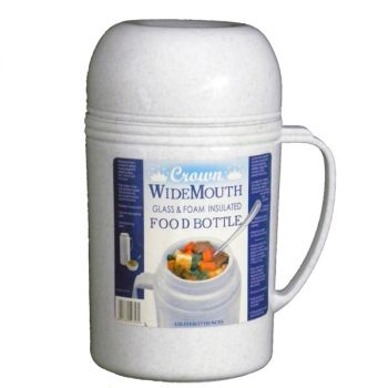 Brentwood 0.5L Wide Mouth Glass Vacuum / Foam Insulated Food Thermos
