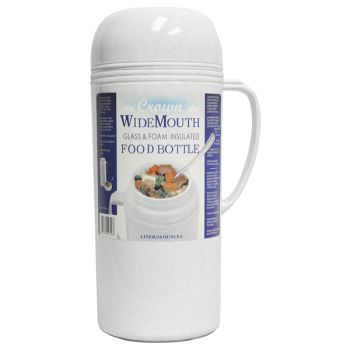 Brentwood 1.0L Wide Mouth Mouth Glass Vacuum / Foam Insulated Food Thermos