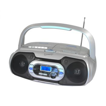 Supersonic Bluetooth Compatible Portable Audio System in Silver