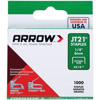 Arrow 21424 JT21 Thin Wire Staples, 1,000 Pack (1/4-Inch)