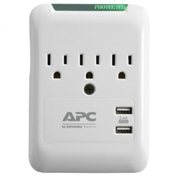 APC PE3WU3 Essential SurgeArrest 3-Outlet Wall Tap with 2 USB Charging Ports