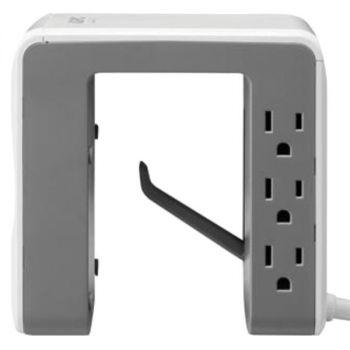 APC PE6U4W Essential SurgeArrest Desk-Mount Power Station with 6 Outlets and 4 USB Charging Ports (White)