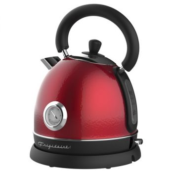 Frigidaire EKET125-RED 1.79-Quart 1,500-Watt Retro Porcelain Electric Water Kettle with Thermometer (Red)