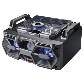 SYLVANIA SP770 Portable 2.1-Channel 50-Watt-Max DJ Bluetooth Boombox with Lights and Drum Kit