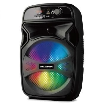 SYLVANIA SPA657-B Rechargeable 6.5-Inch 10-Watt Portable Bluetooth Tailgate Speaker with FM Radio, LED Lighting, and Karaoke Function