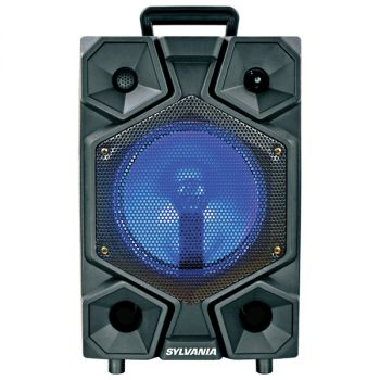 SYLVANIA SPA081-C 8-Inch Bluetooth Tailgate Speaker with FM Radio, LED Lighting, and Microphone